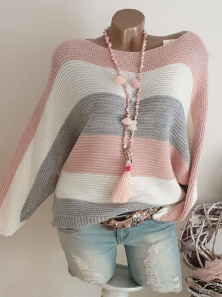 Pullover 36 38 40 Oversized rosa/weiss/grau gestreift Fledermausarm