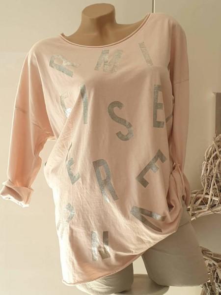 38 40 42 Baumwolle Rollbündchen Longsleeve Tunika Shirt rosa Metallicprint