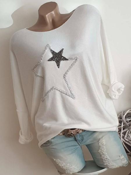 weiss Feinripp NEU 40 42 44 Tunika Langarmshirt Shirt Glitzer