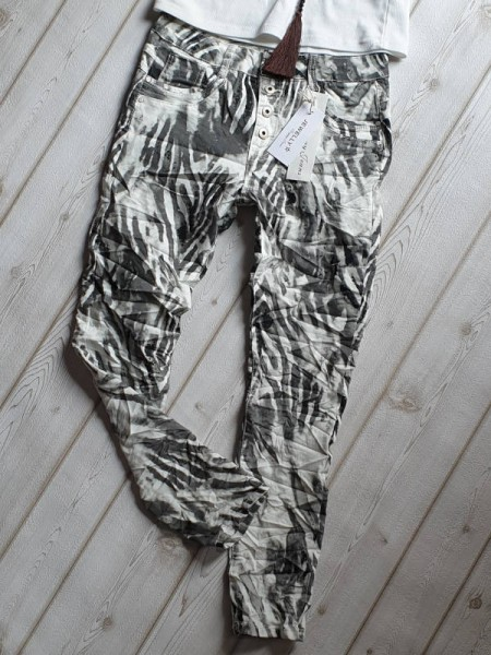 Hose Baggy Jeans Knopfleiste Gr. L 40 JEWELLY weiss grau schwarz gemustert Neu