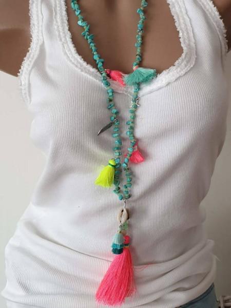 Kette Halskette Türkise neon Quasten Perlen Ibiza Hippie Damenkette neu