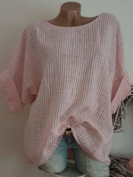 Bluse rosa weiss 42 44 46 gestreift Oversized Tunika zarte Streifen 3/4 Ärmel