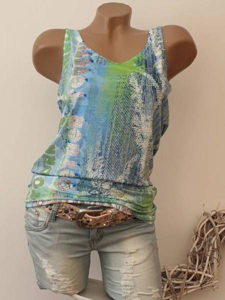 XL 42 Longtop MISSY Top Shirt Glitzer Steinchen blau grün ausgefallen