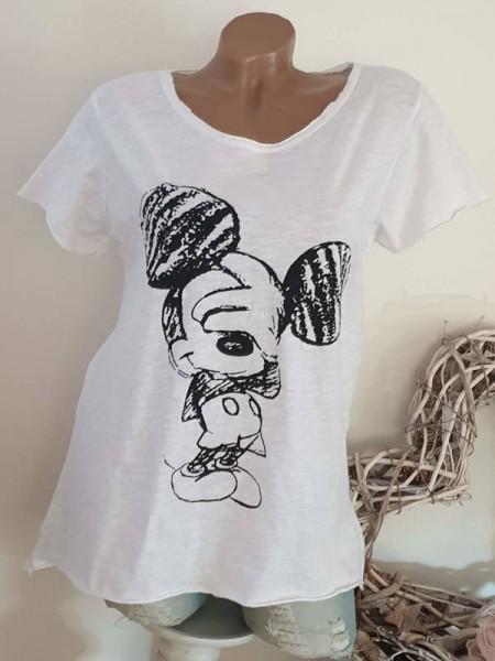 Italy T-Shirt Shirt tailliert Rollbündchen 38 40 42 Tunika weiss Mouseprint Neu