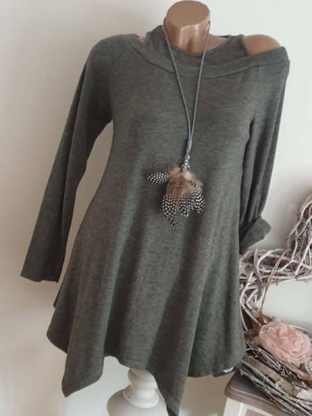 oliv grün Longsleeve NEU Flausch Tunika Zipfeltunika 36 38 40 zipfelig Shirt