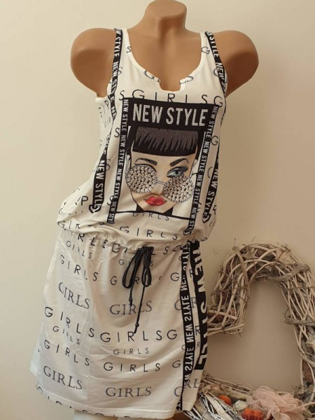 XL 42 Kleid MISSY weiss schwarz Fashion Print Tunnelzug tiefe Taille Glitzer