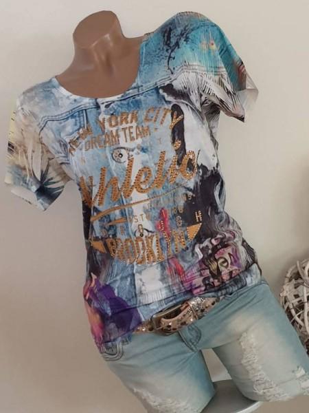 Shirt XL 42 Strass Nieten Neu MISSY T-Shirt bunter Print