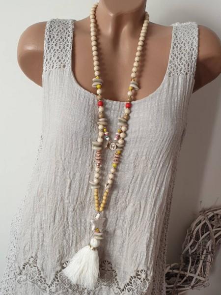 Kette weiss beige Holzperlenkette Holzperlen Quaste Boho Perlen Halskette Hippie