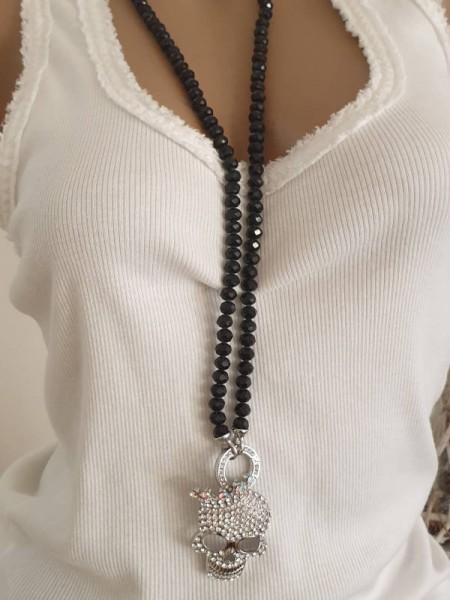 schwarze Glitzer Glasperlen edle Halskette Kette Skull mit Krone Schmuck Steine Strass