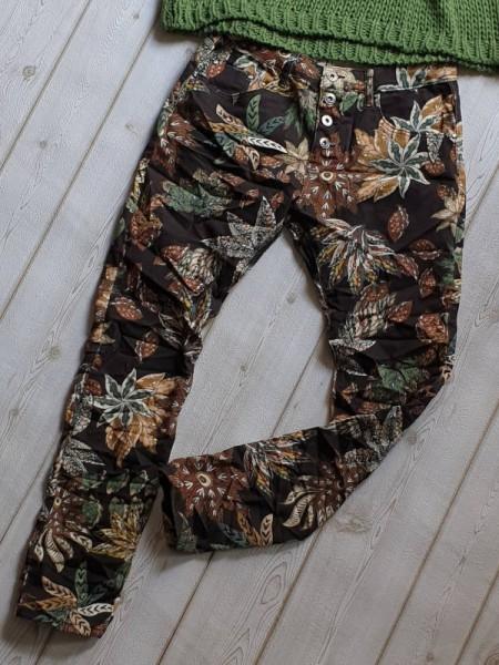 Jeans Baggy Hose schwarz gemustert Gr. 42 PLACE DU JOUR Knopfleiste