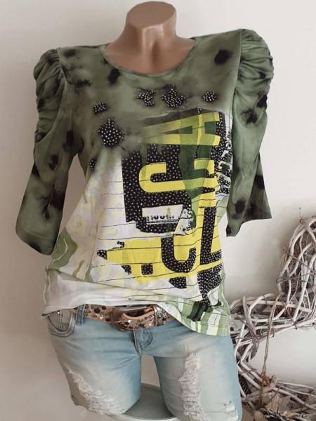 M 38 Tunika Shirt MISSY Geraffte 3/4 Ärmel grün gelb schwarz Glitzer