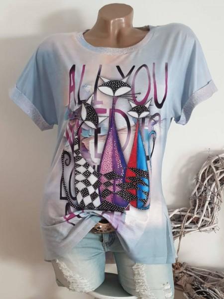L 40 Tunika abstrakte Katzen MISSY Shirt T-Shirt Kurzarm hinten länger
