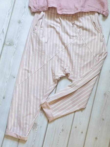38 40 42 lässige Baggy Boyfriend Joggpant Streifen Hose rosa weiss NEU