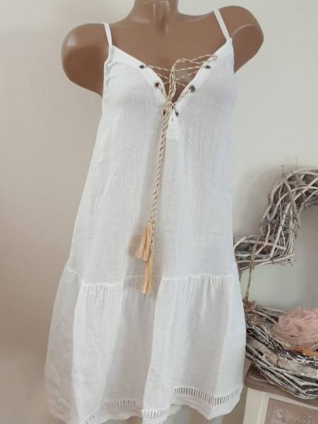 weiss 36 38 40 long Tunika Kleid Trägerkleid vorne zum schnüren