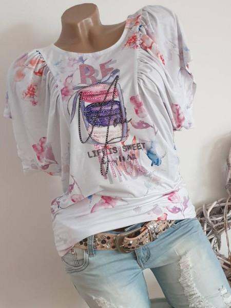 Schmetterlingsärmel L 40 MISSY Tunika Shirt weite schöner Print weiss bunt NEU
