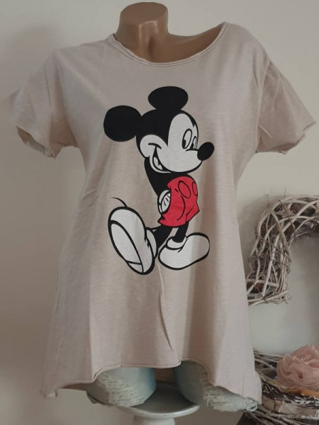 T-Shirt Shirt beige 38 40 42 Tunika Mouse Print hinten länger