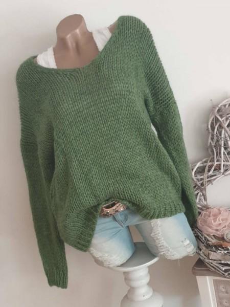 Pulli Knit Neu Grobstrickpulli grün Pullover 40 42 44