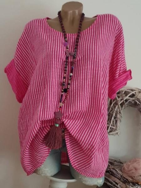 gestreifte Oversized Tunika Bluse pink weiss 42 44 46 zarte Streifen 3/4 Ärmel