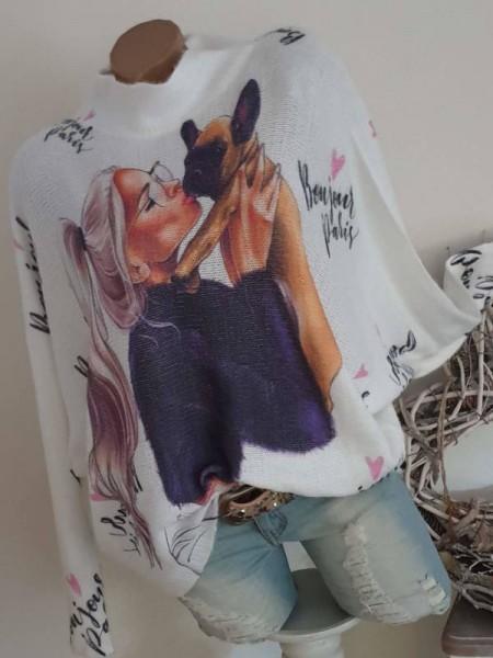 Pulli Flauschpulli mit Wolle Frau mit Mops bunt 40 42 44 Pullover Fledermausarm