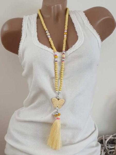 gelb Schmetterling Kette Halskette Hippie Perlen Charms Neu