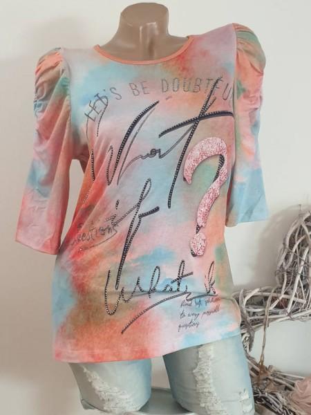 Tunika Shirt L 40 MISSY Geraffte 3/4 Ärmel bunt mit Schriftzug NEU