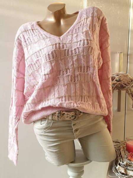 42 Oversized Pullover rosa Lochmuster Pulli NEU V-Neck Lurexgarn