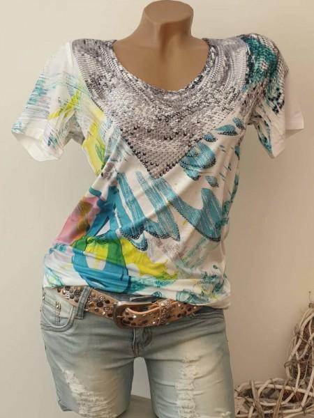 T-Shirt Shirt M 38 türkis weiss gemustert Glitzer Steinchen MISSY Neu