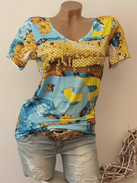 XL 42 V-Neck MISSY T-Shirt Shirt Glitzer Nieten türkis gelb NEU