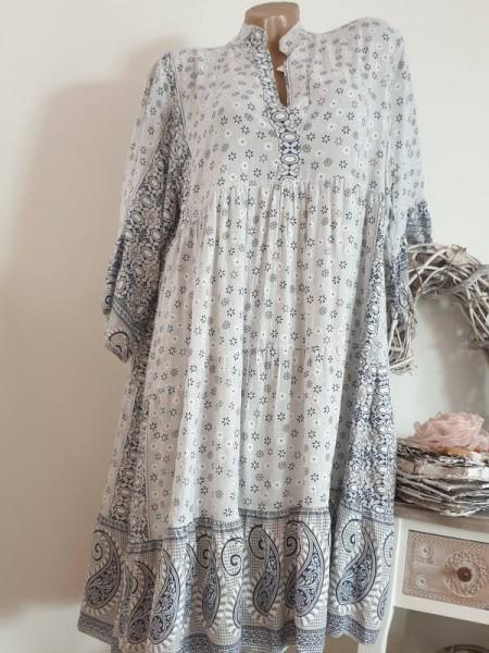 beige blau gemustertes Tunika Kleid 42 44 46 Hängerchen Viskose