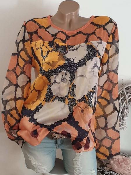 XL 42 Shirt Longsleeve mit Chiffon NEU Glitzer Tunika MISSY