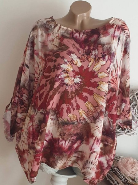 rosa beere Tunika Shirt Dip Dye Batik 44 46 48 NEU Oversized Italy