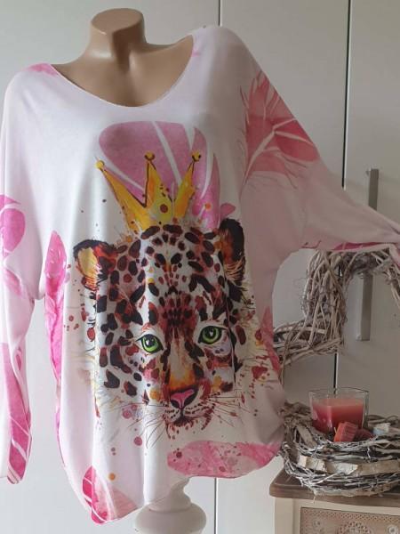 Tunika weiss rosa Tiger mit Krönchen 46 48 50 Feinstrick Lurex hinten länger