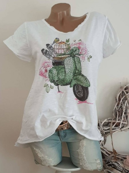 T-Shirt Shirt 38 40 42 Tunika Leo grüner Roller Glitzer Nieten unfinished