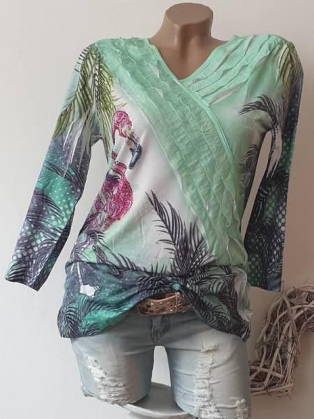 XL 42 MISSY Langarmshirt Longsleeve mintgrün Flamingo Print Glitzer Tunika Neu