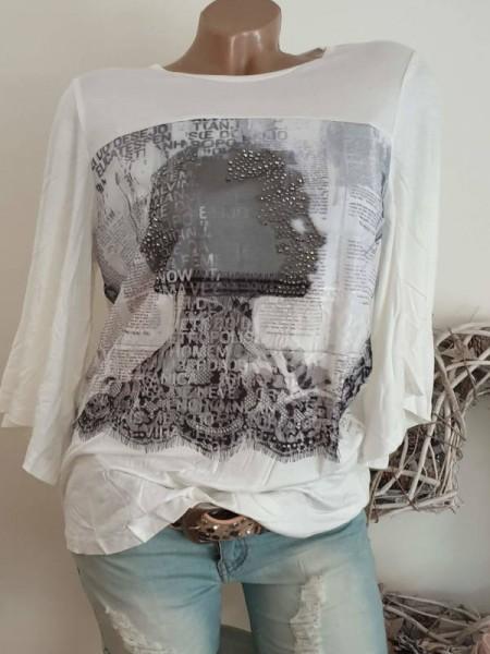 MISSY Shirt M 38 Tunika weiss schwarz Glitzer weite Ärmel vorne etwas Tüll