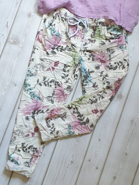 38 40 42 Joggpants weiss floral Hose Tunnelzug Italy Baggy