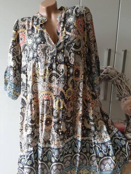 Kleid 40 42 44 schwarz Paisley gemusterte Tunika Viskose Hängerchen