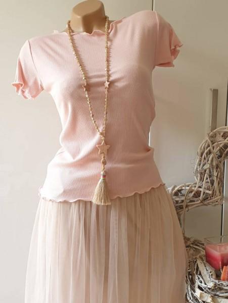 rosa Baumwolle Feinripp Shirt 36 38 Kurzarmshirt Neu strechtig Wellensaum