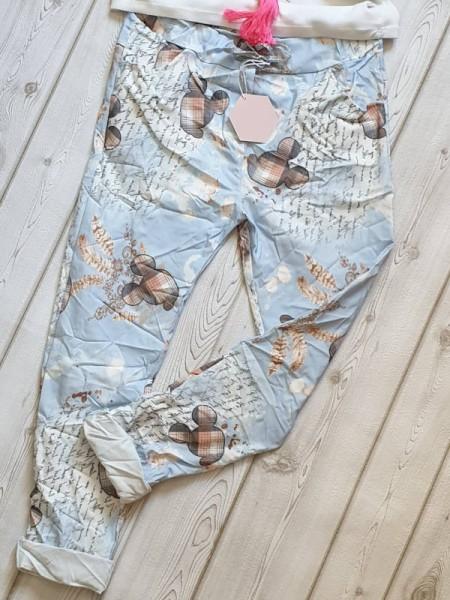 38 40 42 Joggpants Hose hellblau Mouse Print gemustert Baggy Tunnelzug Baumwolle