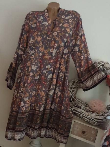 gemustertes Tunika Kleid 40 42 44 Hängerchen Viskose graublau bunt
