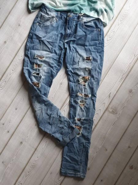M MOZZAAR Skinny Jeans Hose destroyed Look Camouflage Pailetten