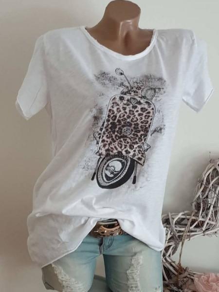 T-Shirt Shirt 36 38 40 Tunika Leo Roller Glitzer Nieten unfinished