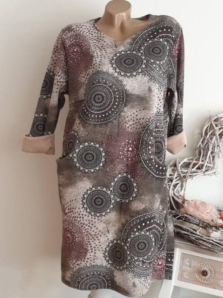 40 42 44 Tunika Kleid Stiefelkleid Eingrifftaschen grau bunt gemustert Neu