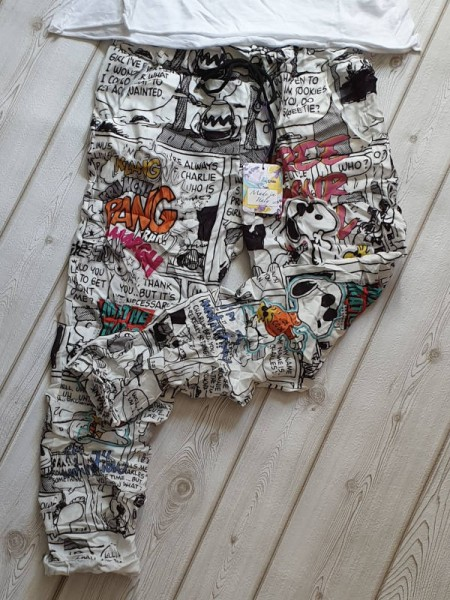 38 40 42 Joggpant Baggy Hose Joggpants weiss schwarz Comicprint Baumwolle