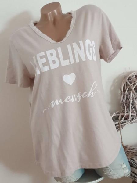 beige Shirt V- Neck ausgefranst T-Shirt mit Print 36 38 40 Italy