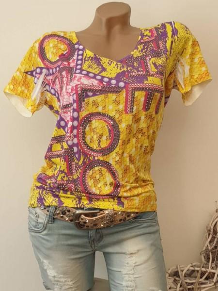 gelb lila pink gemustert XL 42 MISSY T-Shirt Shirt Glitzer Steinchen