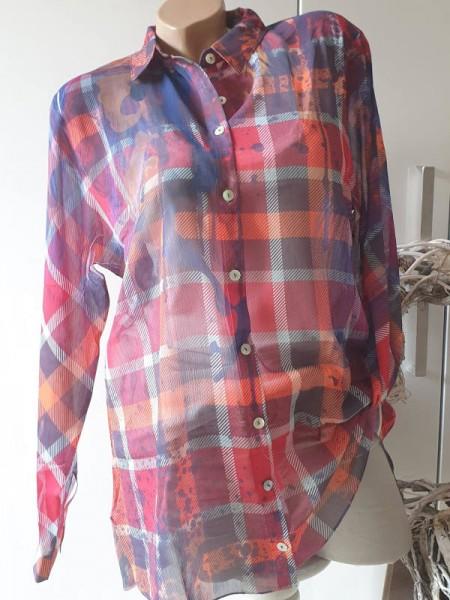 Hemdbluse XL 42 MISSY Bluse toller Print Tunika zum knöpfen NEU