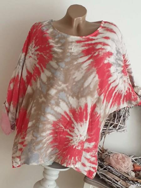 Tunika Shirt beige pink 44 46 48 NEU Batik Print weites Oversized Italy