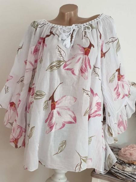 weite Ärmel weiss floral Tunika Bluse 44 46 48 50 Baumwolle Italy