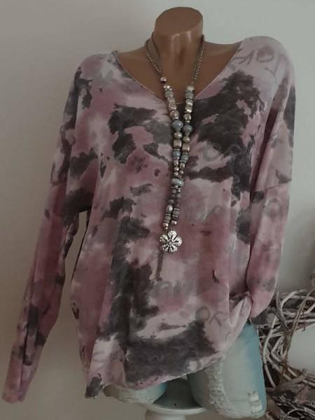 38 40 42 Tunika rosa grau gemustert Silber Glitzer Feinstrick Longsleeve